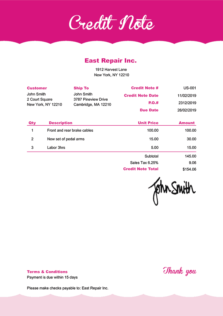 Credit Note Template Us Pink Frosting