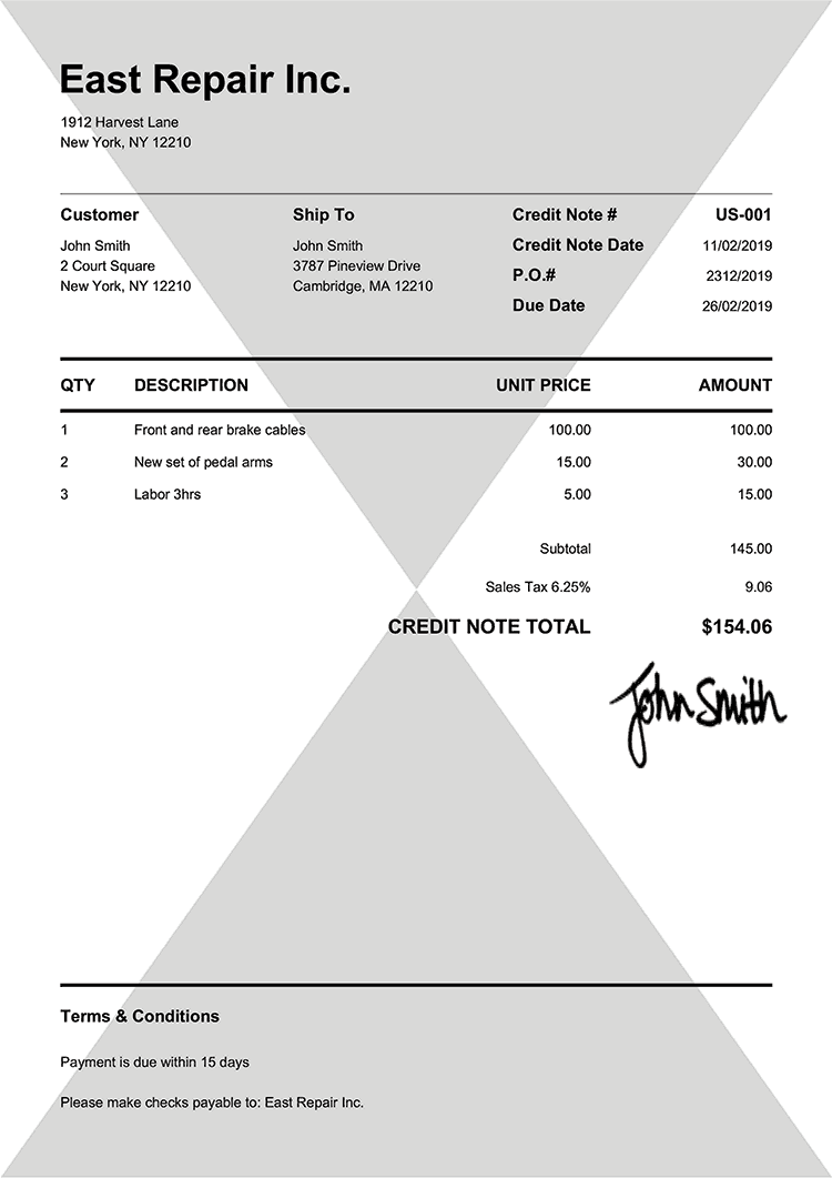 Credit Note Template Us Pure Black