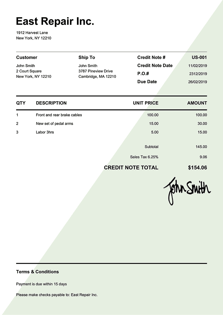 Credit Note Template Us Pure Green