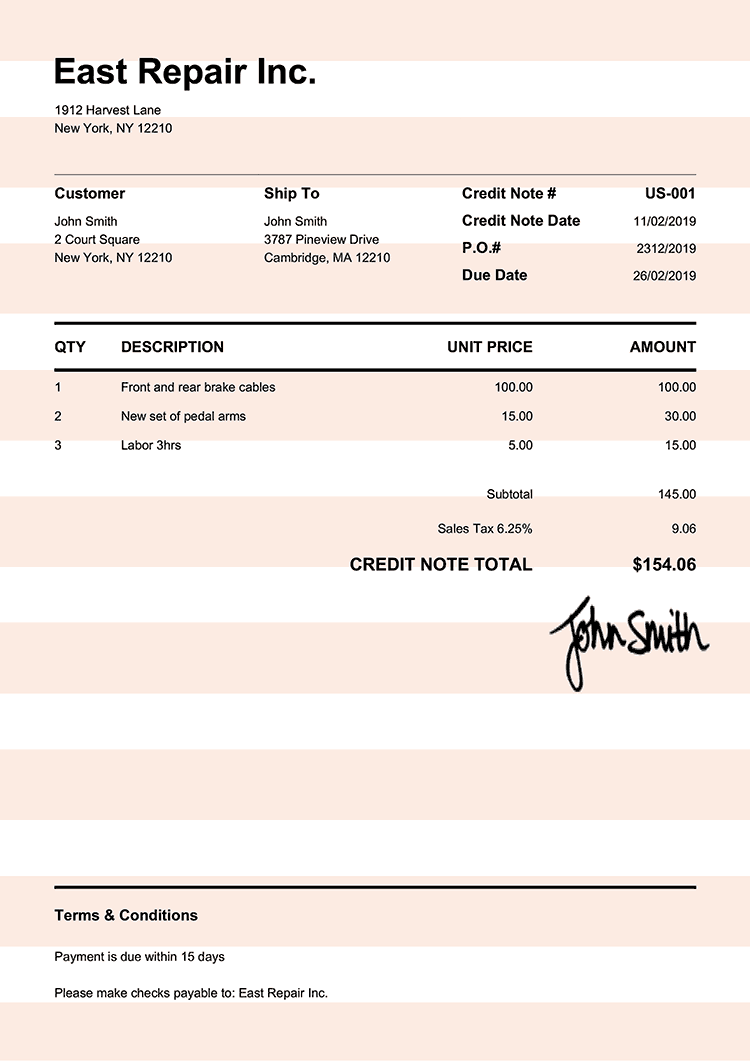 Credit Note Template Us Pure Orange