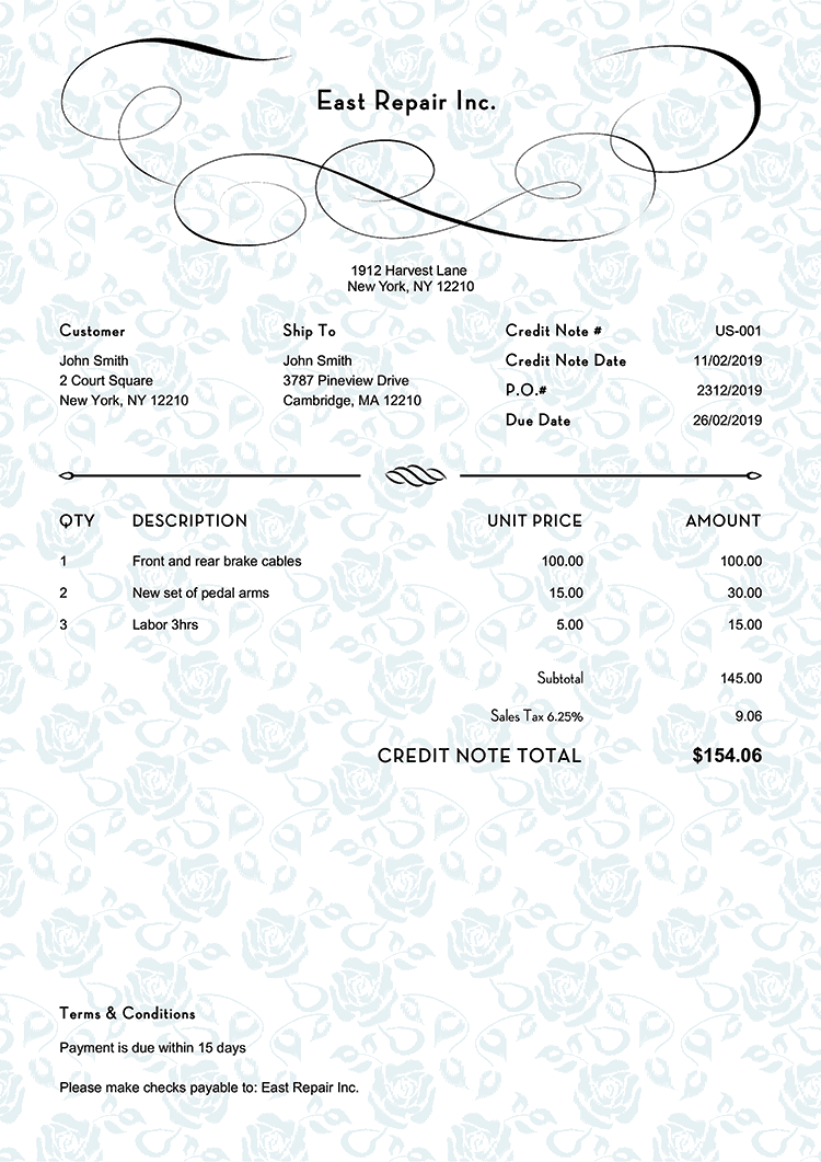Credit Note Template Us Rose Blue No Logo