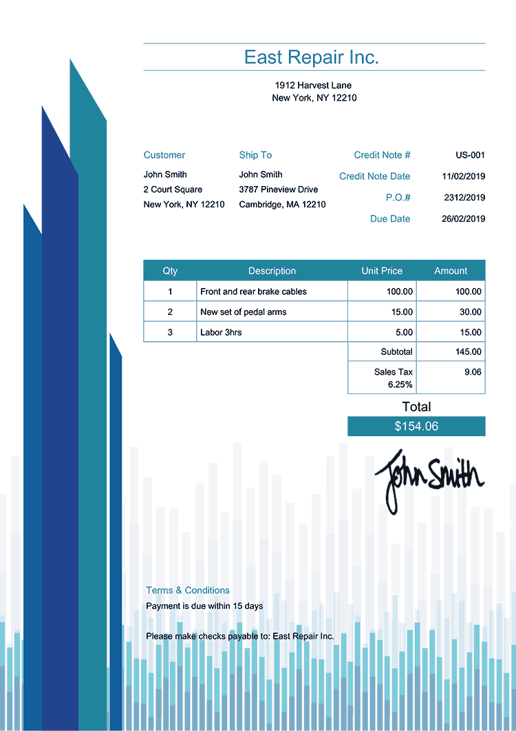 Credit Note Template Us Success Blue