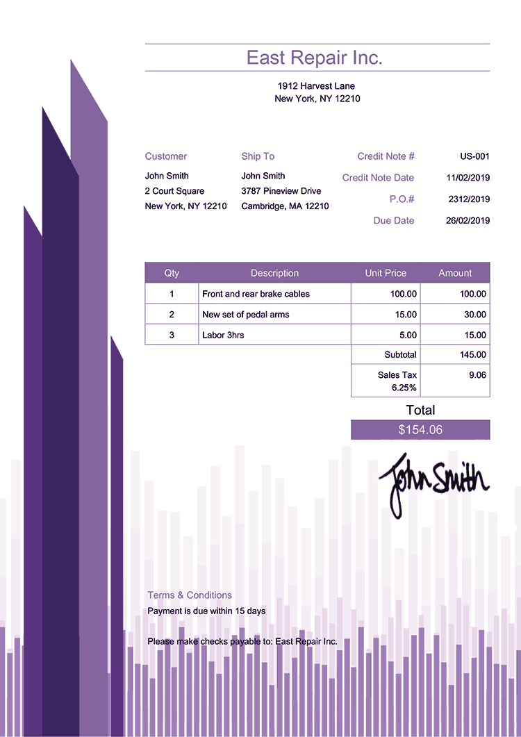 Credit Note Template Us Success Purple