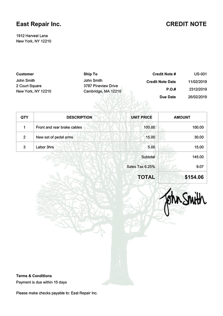 Credit Note Template Us Tree