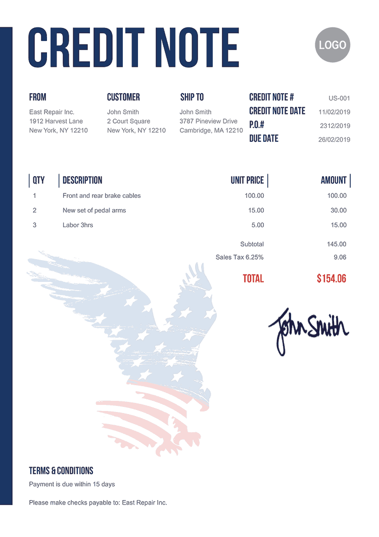 Credit Note Template Us Us Eagle