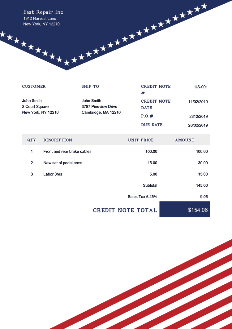 Credit Note Template Us Us Liberty