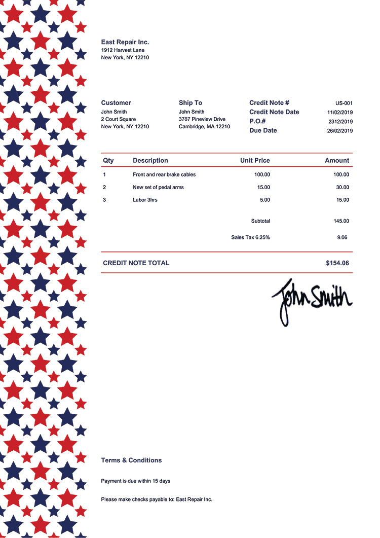 Credit Note Template Us Us Sequoia