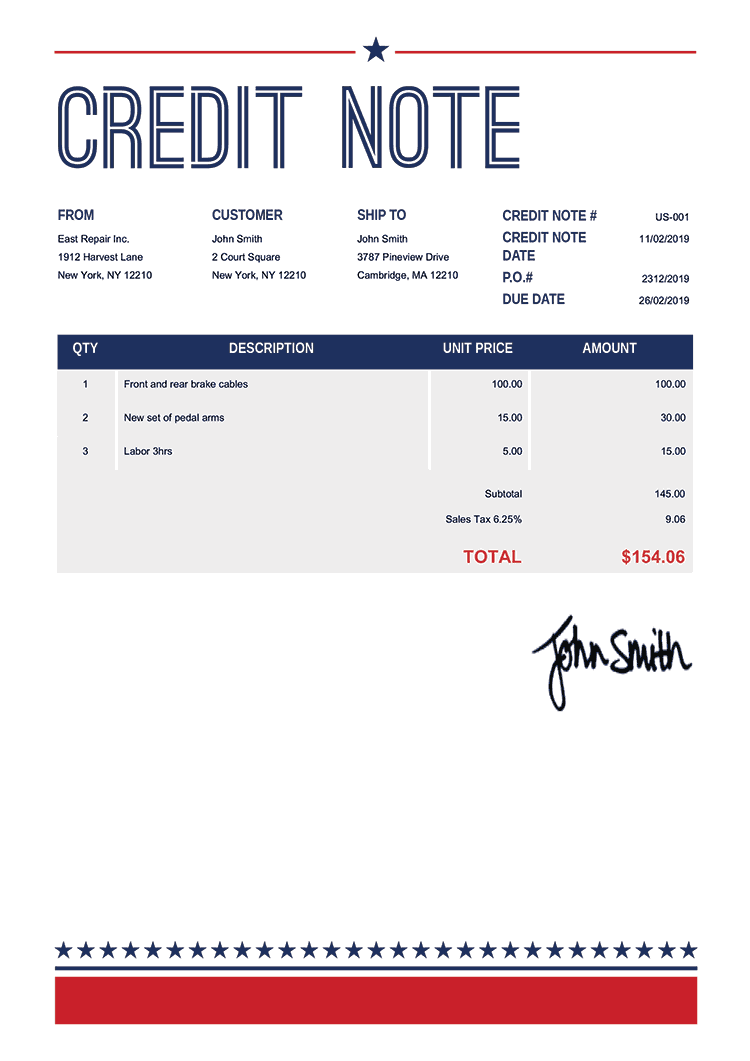 Credit Note Template Us Us Vegas