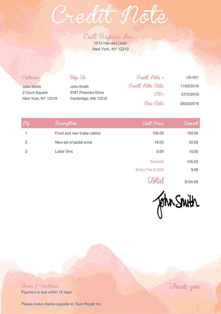 Credit Note Template Us Watercolor Pink