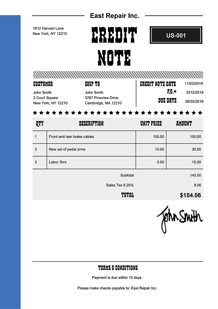 Credit Note Template Us Western Blue