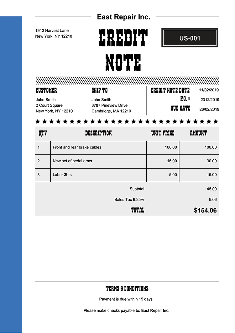 Credit Note Template Us Western Blue No Logo