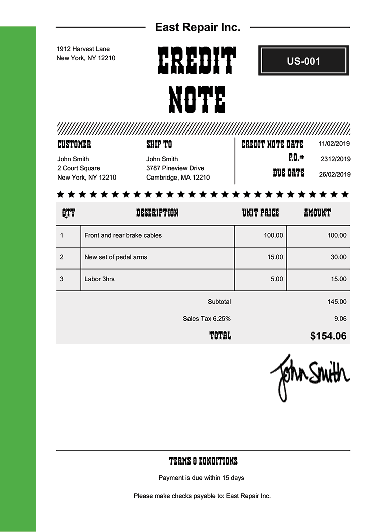 Credit Note Template Us Western Green