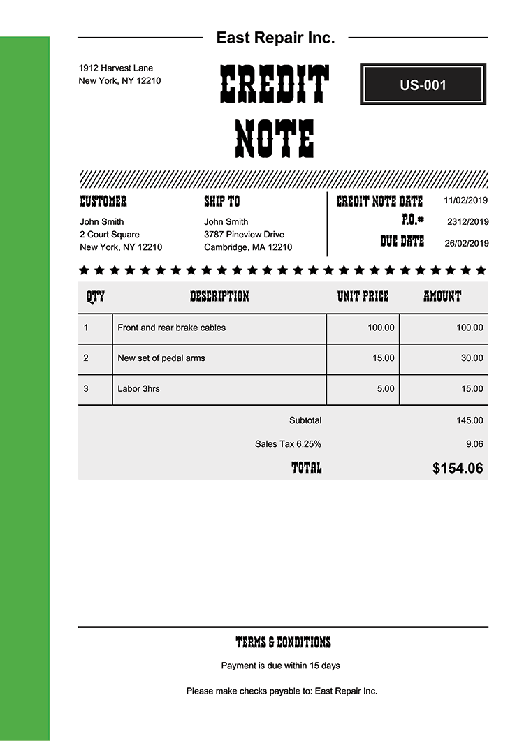 Credit Note Template Us Western Green No Logo