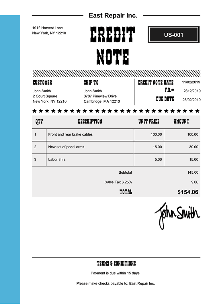 Credit Note Template Us Western Light Blue