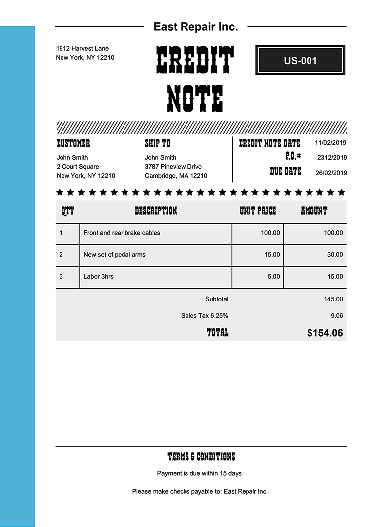 Credit Note Template Us Western Light Blue No Logo