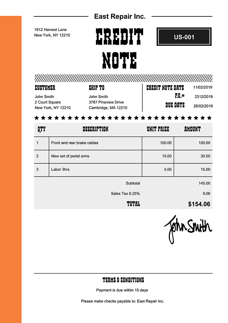Credit Note Template Us Western Orange