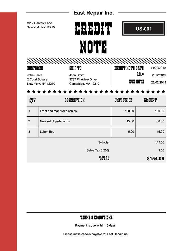Credit Note Template Us Western Red No Logo