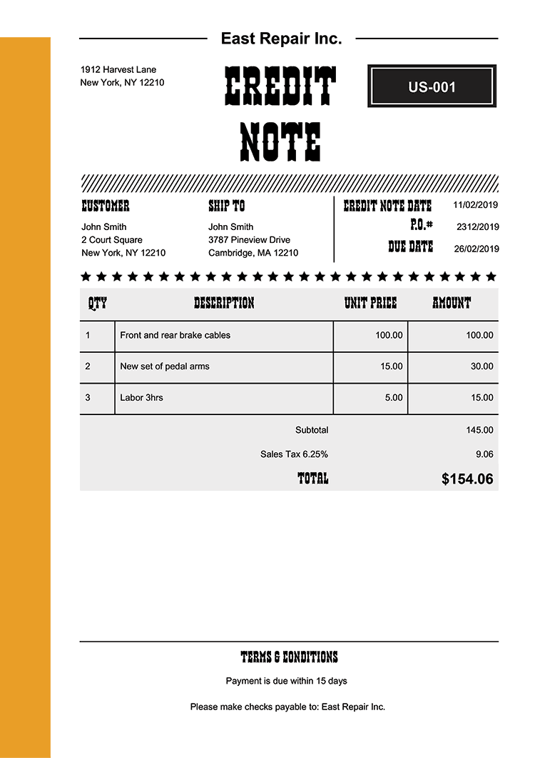 Credit Note Template Us Western Yellow No Logo