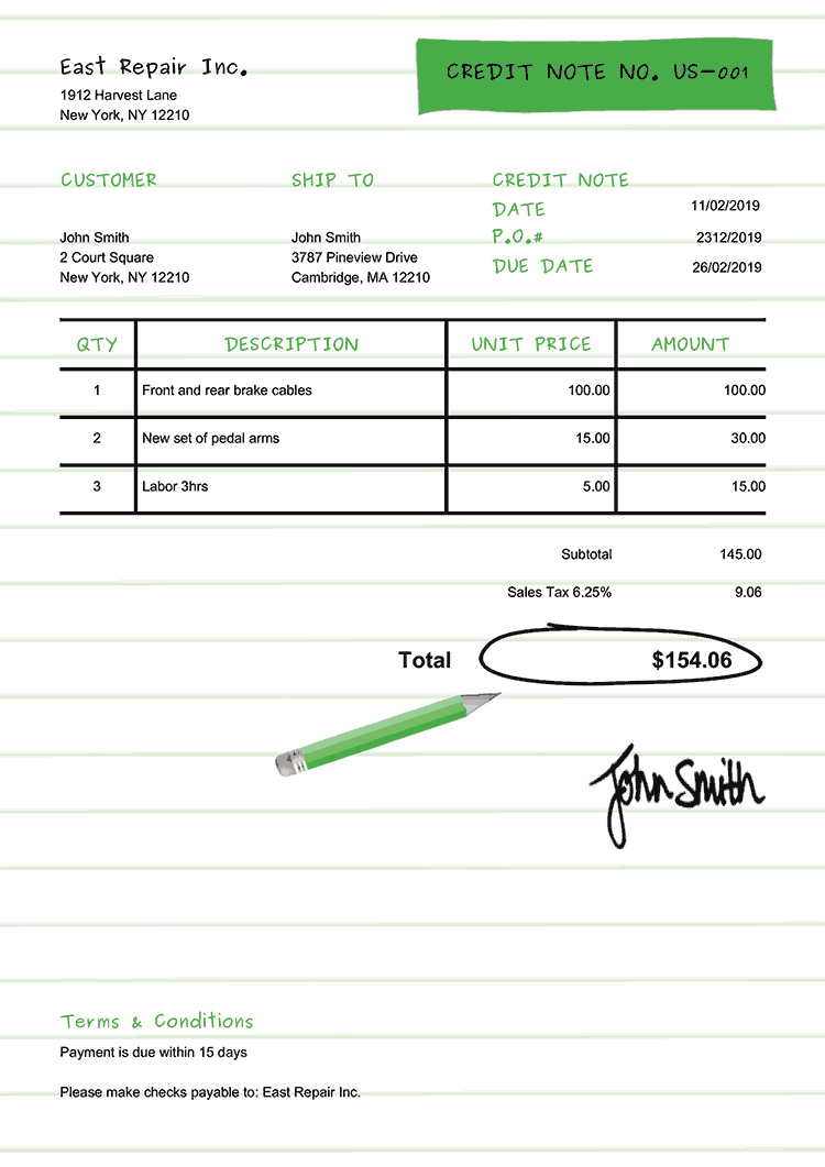 Credit Note Template Us Workbook Green