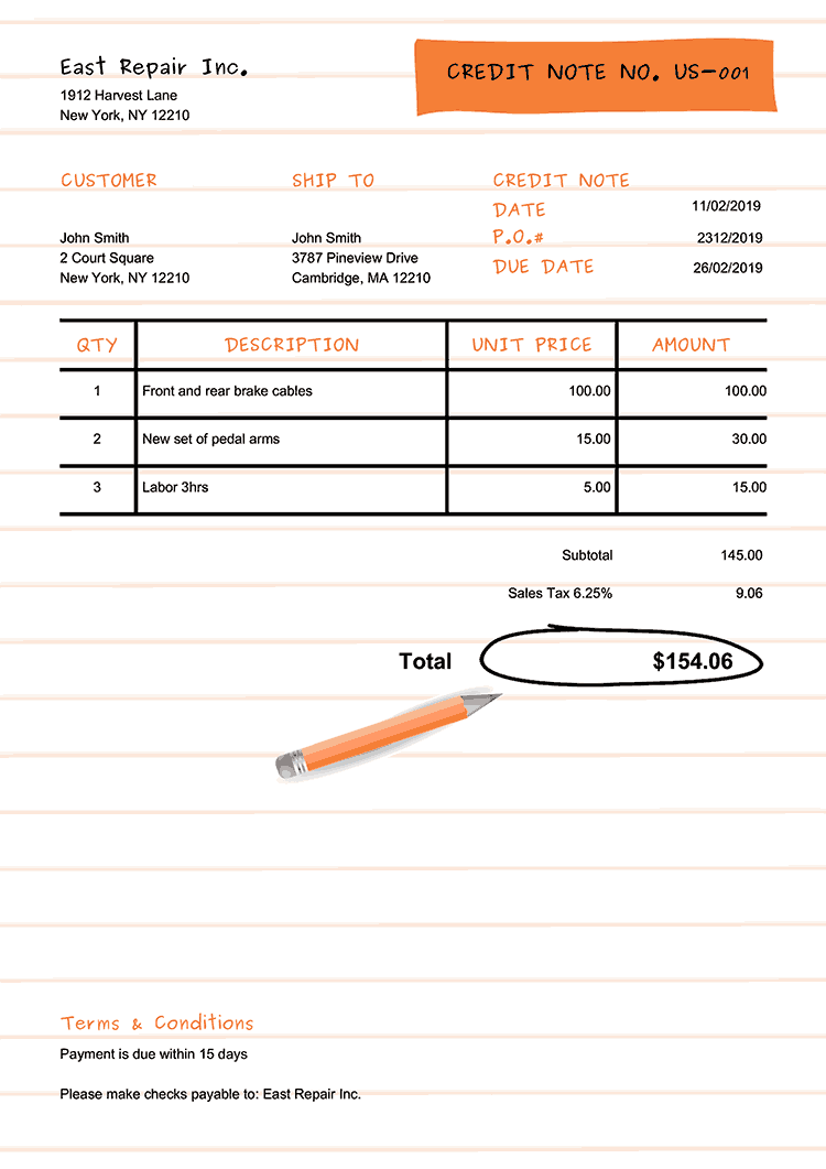 Credit Note Template Us Workbook Orange No Logo
