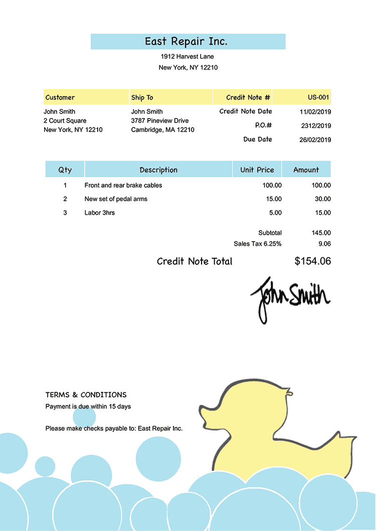 Credit Note Template Us Yellow Duck