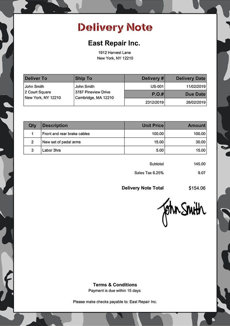 Delivery Note Template Us Camo Gray