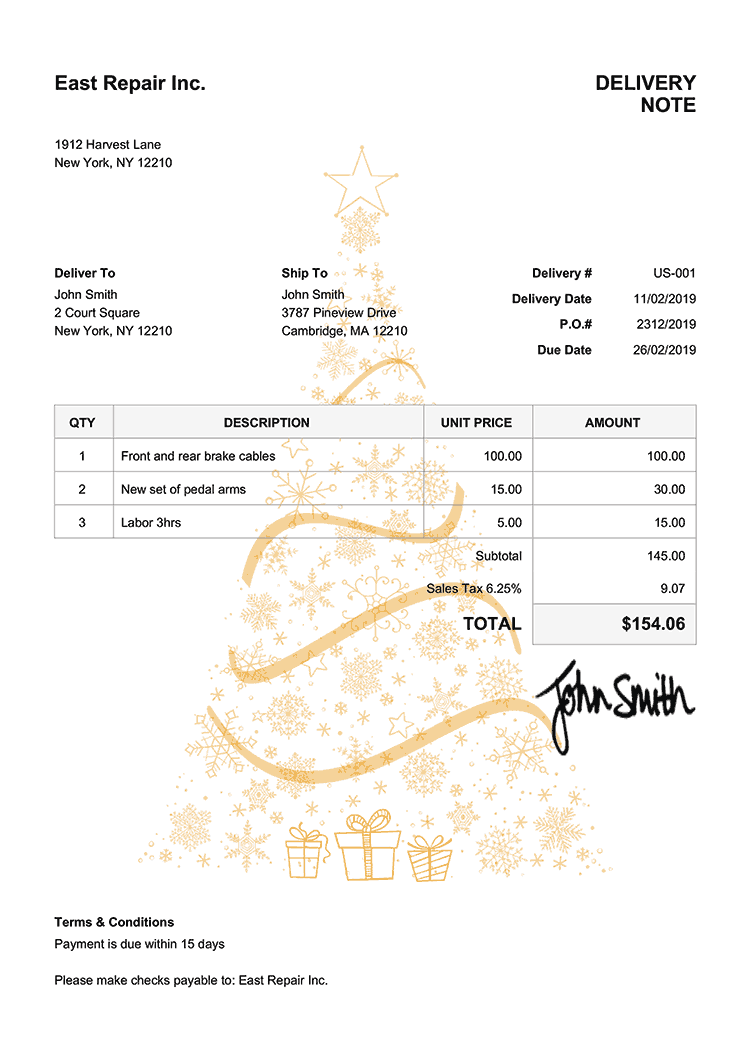 Delivery Note Template Us Christmas Tree Yellow