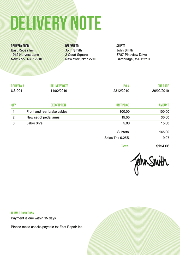 Delivery Note Template Us Circles Green