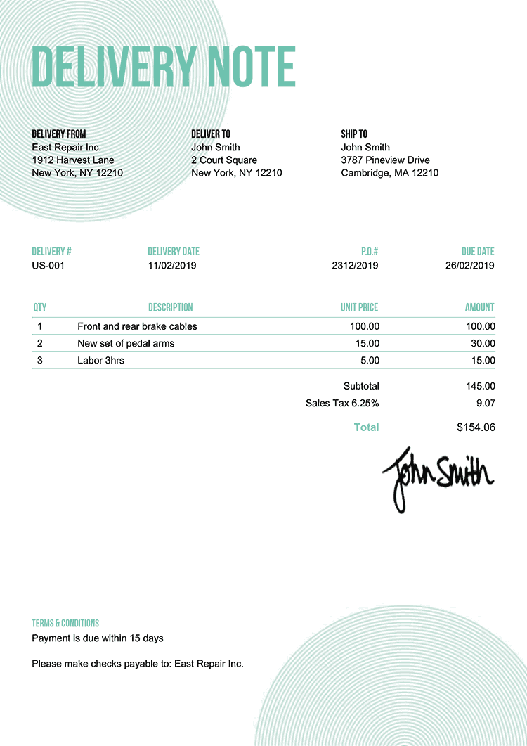 Delivery Note Template Us Circles Turquoise