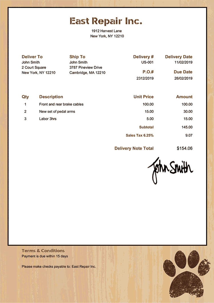 Delivery Note Template Us Dog Walker