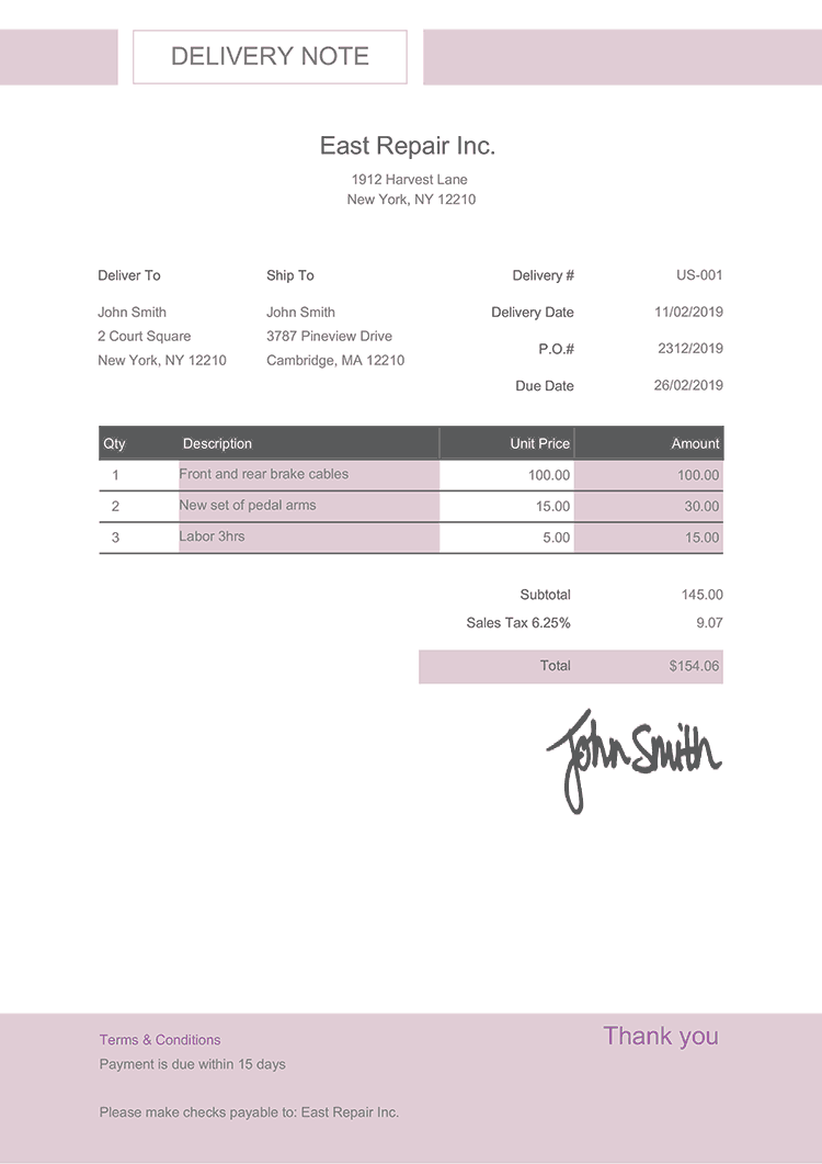 Delivery Note Template Us Effortless Lilac