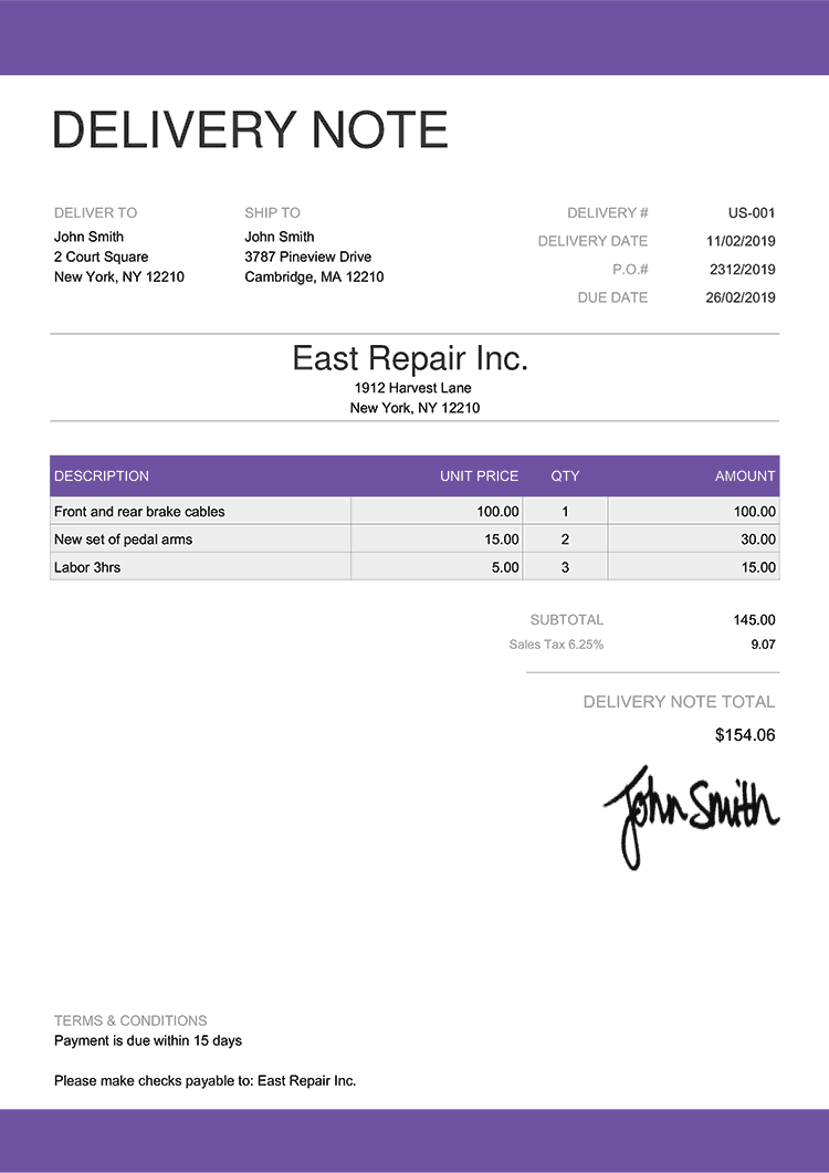 Delivery Note Template Us Enterprise Purple