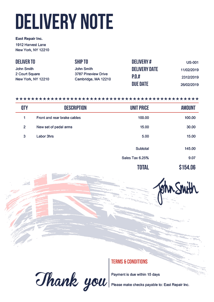 Delivery Note Template Us Flag Of Australia