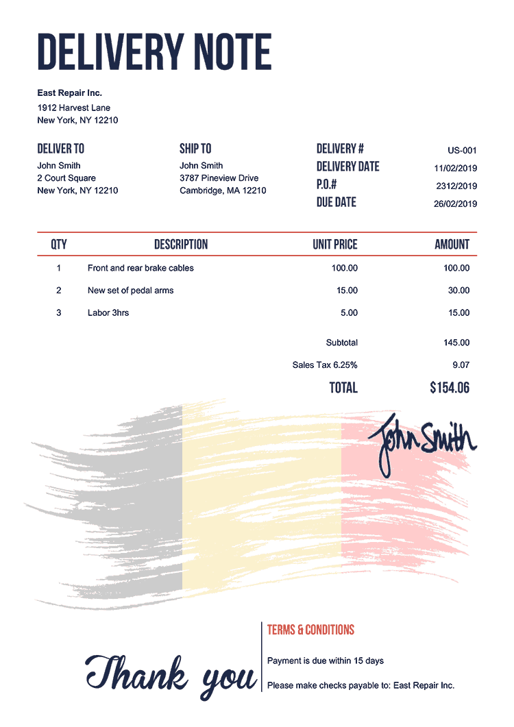 Delivery Note Template Us Flag Of Belgium