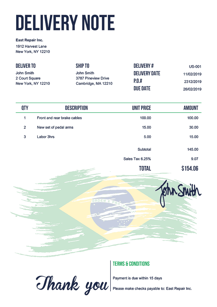 Delivery Note Template Us Flag Of Brazil