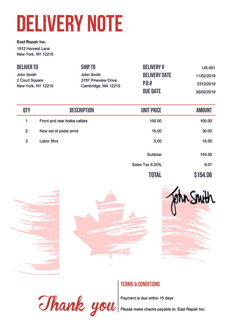 Delivery Note Template Us Flag Of Canada