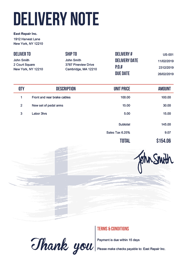 Delivery Note Template Us Flag Of Finland