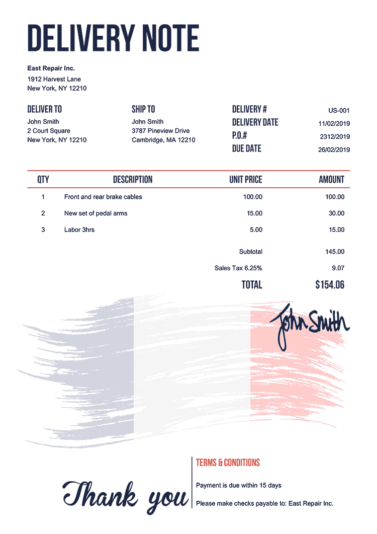 Delivery Note Template Us Flag Of France