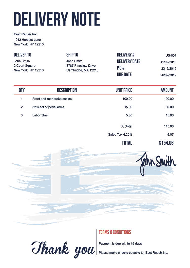 Delivery Note Template Us Flag Of Greece