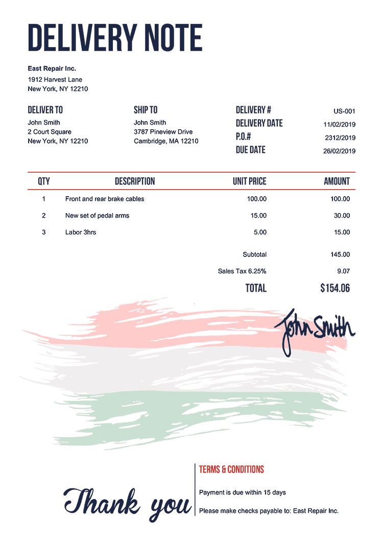 Delivery Note Template Us Flag Of Hungary