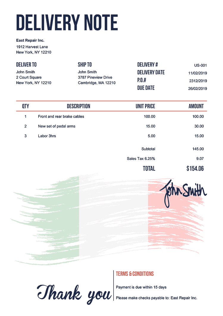 Delivery Note Template Us Flag Of Italy