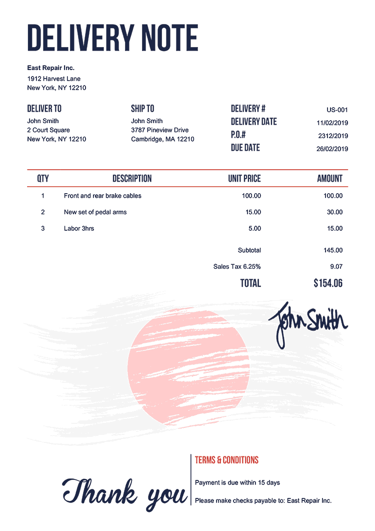 Delivery Note Template Us Flag Of Japan