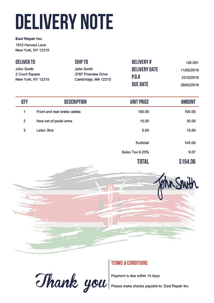 Delivery Note Template Us Flag Of Kenya