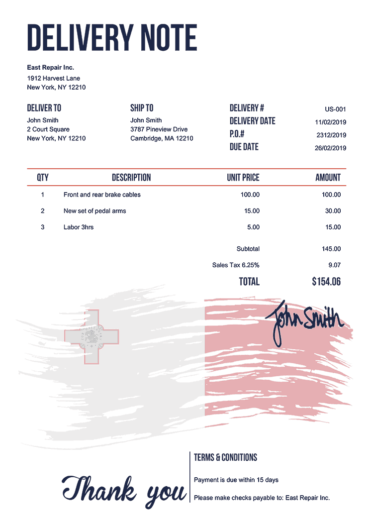 Delivery Note Template Us Flag Of Malta