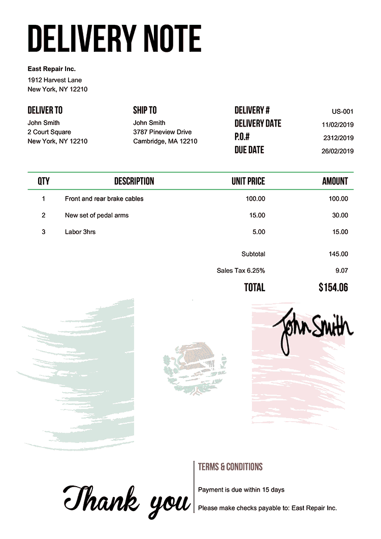 Delivery Note Template Us Flag Of Mexico