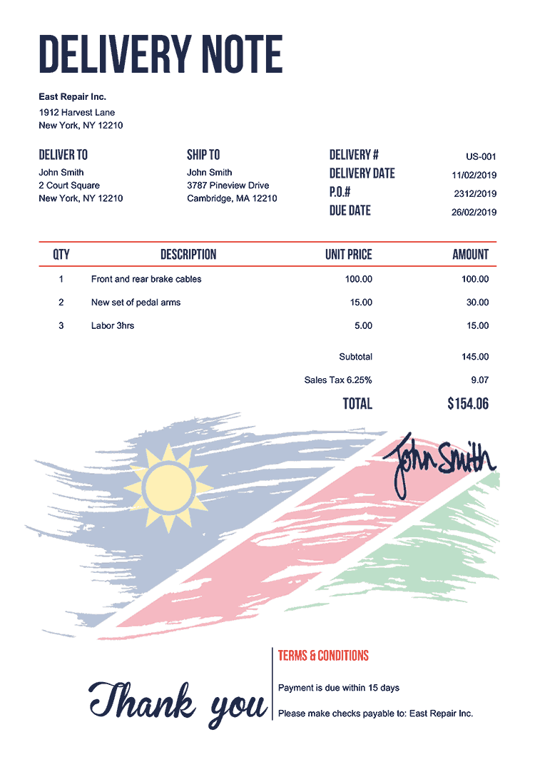 Delivery Note Template Us Flag Of Namibia