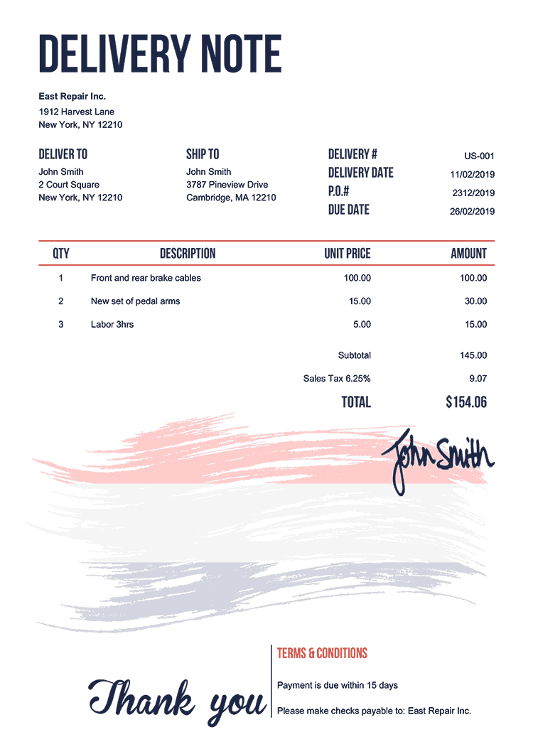 Delivery Note Template Us Flag Of Netherlands