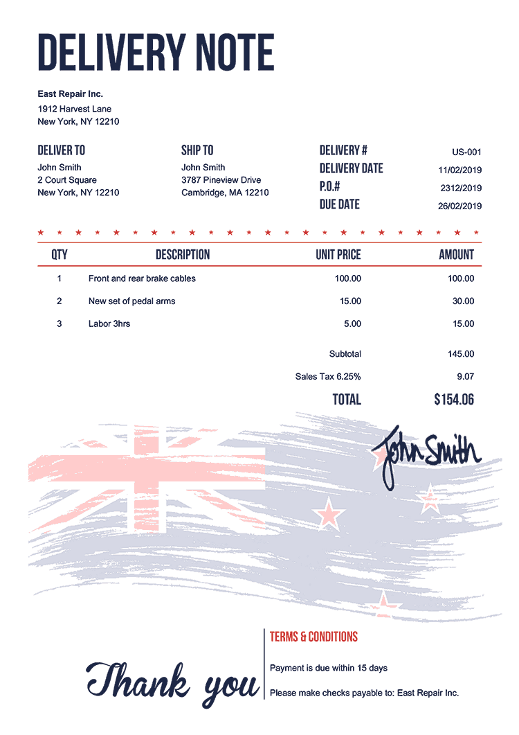 Delivery Note Template Us Flag Of New Zealand