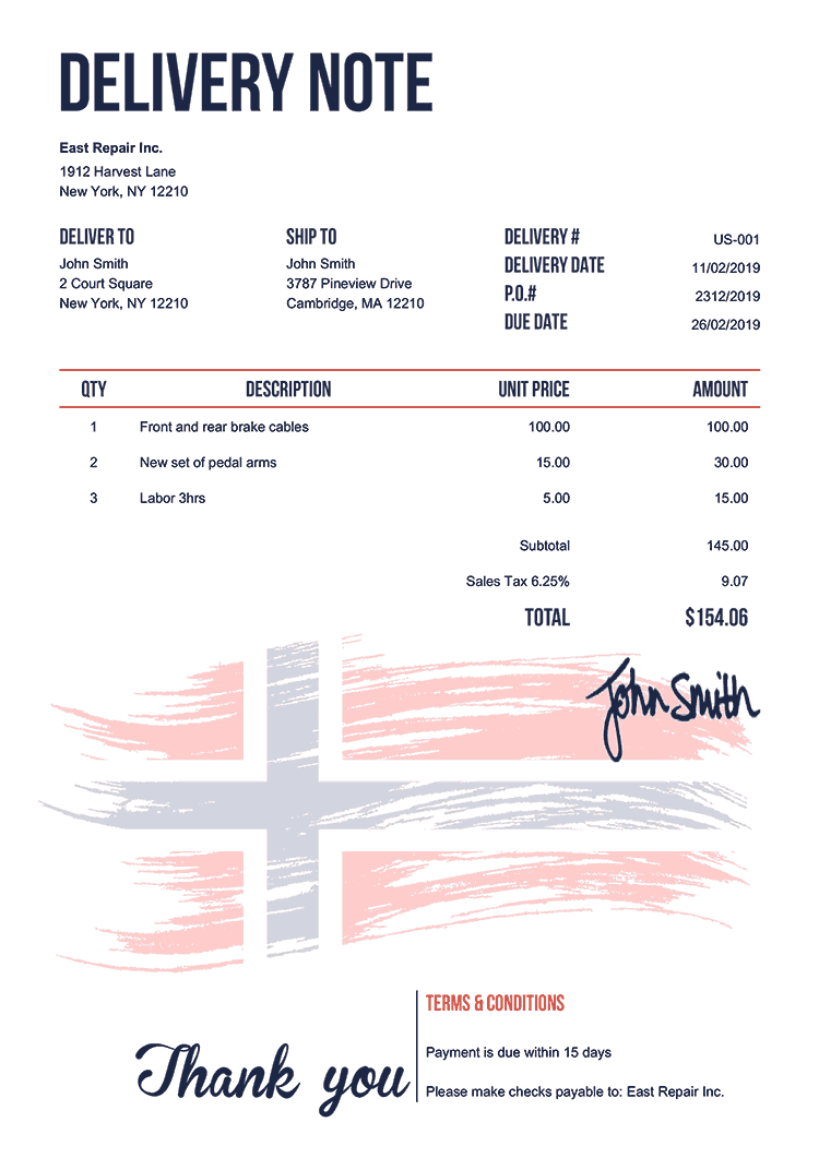 Delivery Note Template Us Flag Of Norway