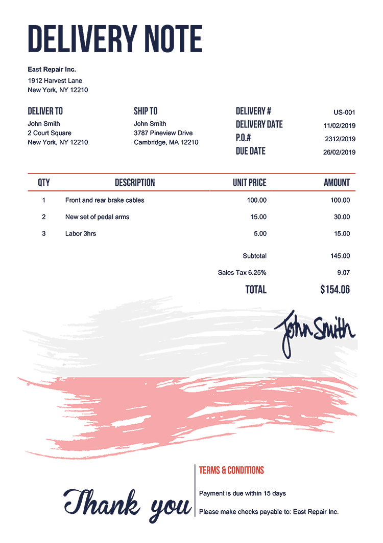 Delivery Note Template Us Flag Of Poland